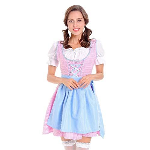 MRULIC Oktoberfest Damen Blusen Deko Party 3 Stück Dirndl Kleid Traditionelle Bayerische Kostüme Karneval (EU-36-38/CN-M, B-Blau+Rosa)