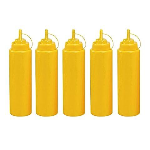 Gemini _ Mall® Lot de 5plastique Squeeze bouteilles avec bouchons, 226,8gram, distributeurs de Meilleur pour la maison et restaurant Ketchup, Moutarde, Mayo, pansements, huile d'olive, barbecue, Sauce- sans BPA 8 Oz jaune