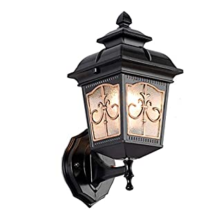 Outdoor Waterproof Wall lamp, Living Room Aisle Courtyard Black Aluminum Balcony with Glass lamp Cover Wall Light