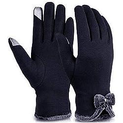 Evokems Guantes de terciopelo del arco de la manera de la moda de las mujeres forraron la pantalla táctil guantes calientes del invierno Guantes y manoplas