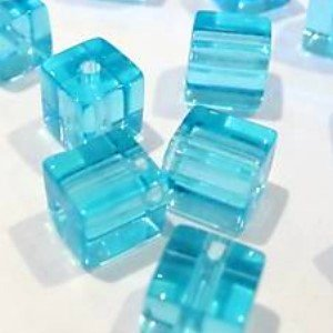 50 pieces 8mm Clipped Cube Style Value Crystal Glass Beads - Aqua - A3079