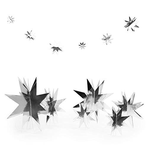 Oblique Unique® 3D Sterne Papier Girlande als Weihnachtsdeko Weihnachten Dekoration Hängedeko Gold Silber - Farbe Wählbar (Silber)