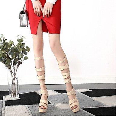 LvYuan Damen-Sandalen-Kleid Lässig-Kunstleder-Stöckelabsatz-Neuheit Gladiator Club-Schuhe-Schwarz Weiß Beige Black