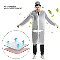 ‏‪Rain Ponchos For Adults,Hamkaw Portable Raincoat Rain Poncho With Hoods And Sleeves,Reusable EVA Rain Jacket Lightweight Rain Coats For Camping Hiking,Traveling,Fishing,Amusement (2 Family Pack)‬‏