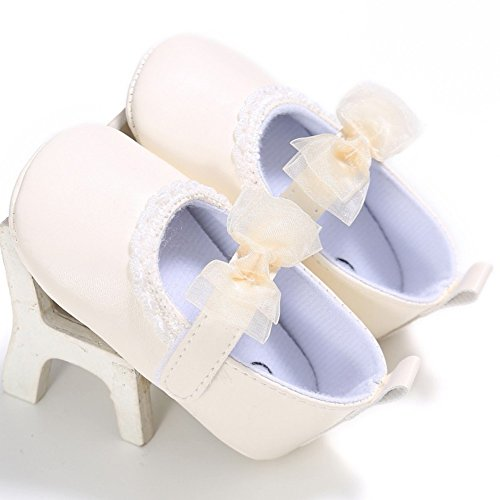 MiyaSudy Baby Mädchen Weichen Sohle Anti Rutsch Netter Bogen Krabbelschuhe Weiß