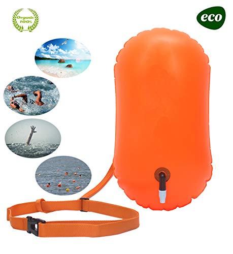 Schwimmpose und Trockentasche für Open-Water-Schwimmer und Triathleten, gut sichtbarer Bojen-Schwimmairbag für sicheres Schwimmtraining (Orange - kein Stauraum)