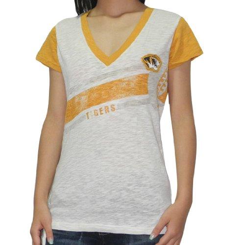 NCAA Missouri Tigers Damen V-Neck T-Shirt (Vintage Look) Beige