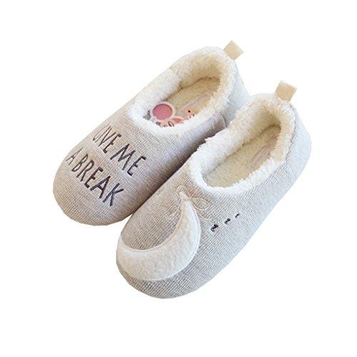 (Kreative Fleece Damen Pantoffeln Hausschuhe Schlappen mit Stern&Mond Motiv Winterschuhe Warme Herbst Winter Flip Flops Slipper EURO 36-37 GRAU)
