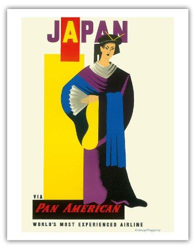 Japan, Pan American Airlines (PAA)-Japanische Geisha Girl-Vintage Airline Travel Poster von Edward McKnight Kauffer c.1954-Fine Art Print 11