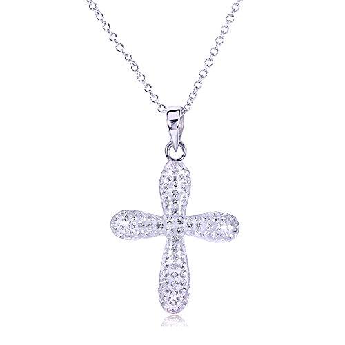 Taglio rotondo e ciondolo a forma di croce con diamante 3/8 k (ctw) in oro bianco 18 k, oro bianco 14 k,)