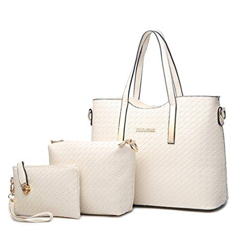 Longlove Damen Geldbörse PU Leder Rucksack gewebt Schultertasche Handtasche Geldbörse (Gold) Weiß