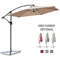 Ziigo Parasol de Jardin Ø 3m Parasol Cantilever Banana pour Patio Parapluie en Aluminium Pare-Soleil UV50 + Protection Solaire, 6 Baleines, Taupe
