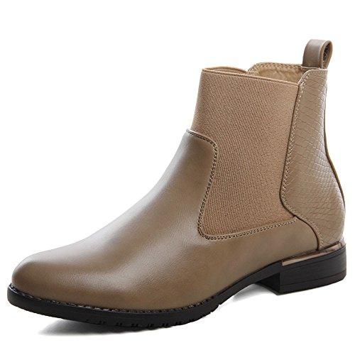 topschuhe24 586Femme Chelsea Boots Bottines pour femme Kaki