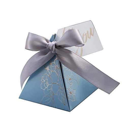 Virginia robin triangolari nozze favori piramide candy box e articoli da regalo bomboniere borse per gli invitati a nozze decorazioni baby shower feste, cielo blu, 20 pz