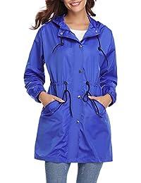 Aibrou Abrigo de Impermeable Ligero Chaqueta con Capucha para Mujer