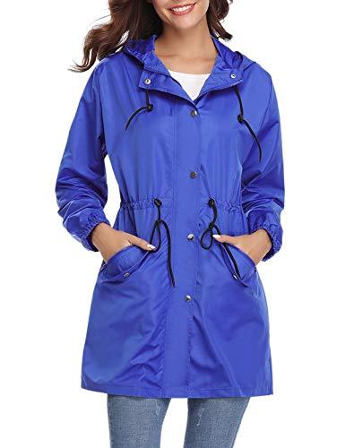 Aibrou Damen Regenjacke Wasserdicht Atmungsaktiv Leichter Kapuzen Trenchcoats Windjacke mit Einstellbarer Kapuze für Sommer und Herbst Mit Kapuze Damen Regenjacke