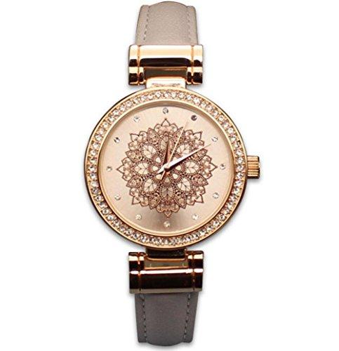 Damen Diamant Quarzuhr Leder Uhr Armband hat ein schönes Design - Uhr Face Damen Dual