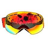 Gafas mascara sky snowboard vision panoramica anti-niebla Anti-vaho anti-viento proteccion UV-400 color naranja de OPEN BUY