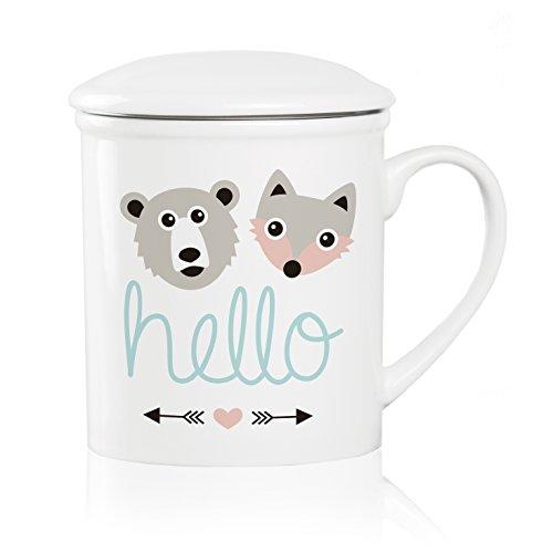 We Love Home - Tasse à thé en porcelaine avec infuseur en acier inoxydable + couvercle 25 cl. style scandinave design Hello