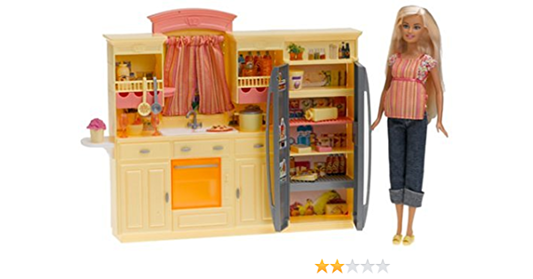 Buy Barbie Play All Day Kitchen Set With Doll Online At Low Prices In India Amazon In