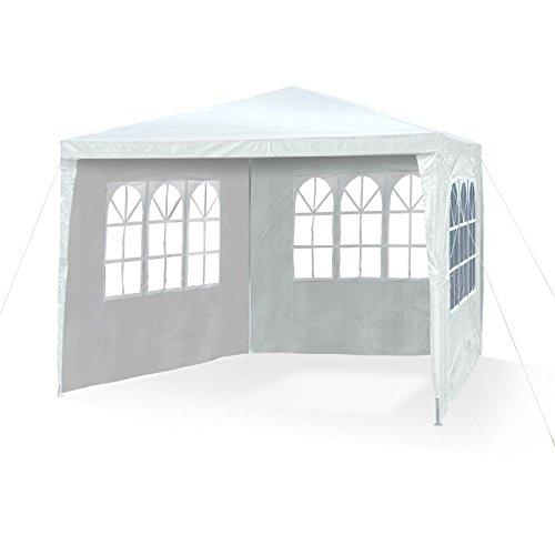 JOM 127134 Gazebo da giardino, 3 x 3 m, con 4 pareti laterali, 3 finestre e 1 porta con chiusura lampo, materiale PE 110G, barre di metallo, giunzioni plastiche, impermeabile, con picchetti e corde di tensione, bianco - 2