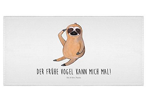 Mr. & Mrs. Panda Gästehandtuch, Badehandtuch, 50 x 100 Handtuch Faultier Vogel Zeigen mit Spruch – Farbe Weiß