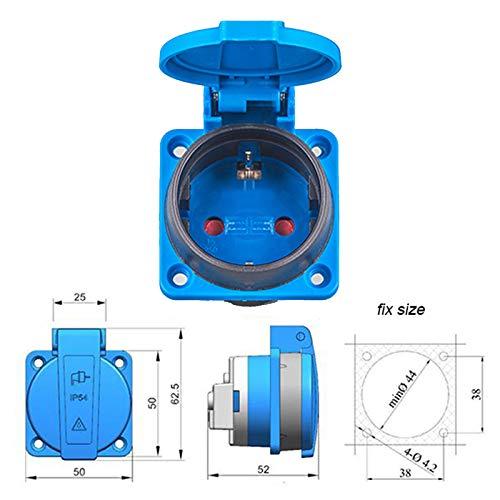 ALLEGRA 10 Stück CEE Schuko-Steckdose Einbausteckdose 230V mit Deckel IP 54 -