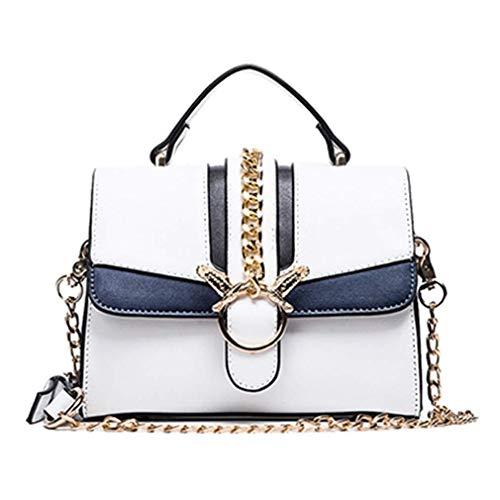 Nuanxin Chain Bag, Schultertasche Small Square Bag, Wild Messenger Bag, Einfach, Weiß, 20 * 15 * 8 cm U10