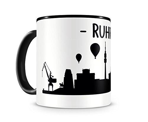 plot4u Ruhrpott Skyline Ruhrgebiet Tasse Kaffeetasse Teetasse H:95mm/D:82mm schwarz/schwarz