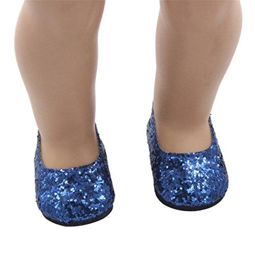 Schuhe für Puppe, BZLine® Glitter Puppe Schuhe Kleid Schuh für 18 Zoll Girl Doll (Blau) -