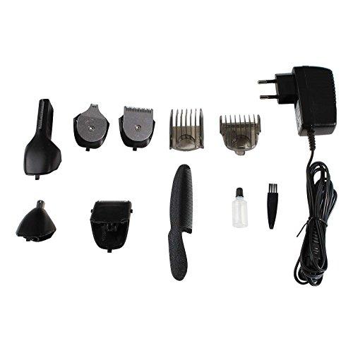Elektrischer Haarschneider Nasenhaartrimmer Bartschneider Haarschneidemaschine Haarentferner (6 Schneidköpfe, Rasierapparat, Edelstahl Klingen, Akku, Ladekabel)