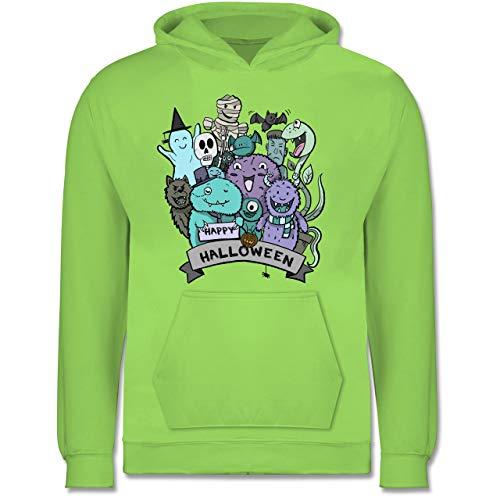 Shirtracer Anlässe Kinder - Happy Halloween Monster - 7-8 Jahre (128) - Limonengrün - JH001K - Kinder (Die Schöne Und Das Biest Kostüme Für Jungen)