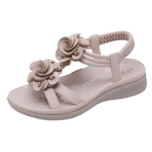 Dorical Sandalen für Mädchen,Böhmischen Slippers Mode Flache Casual Sandalen Strand Sommer Prinzessin schöne Flache Schuhe für Lässig, Mode, Party, Tanz(Khaki-1,7.5-8Jahre)