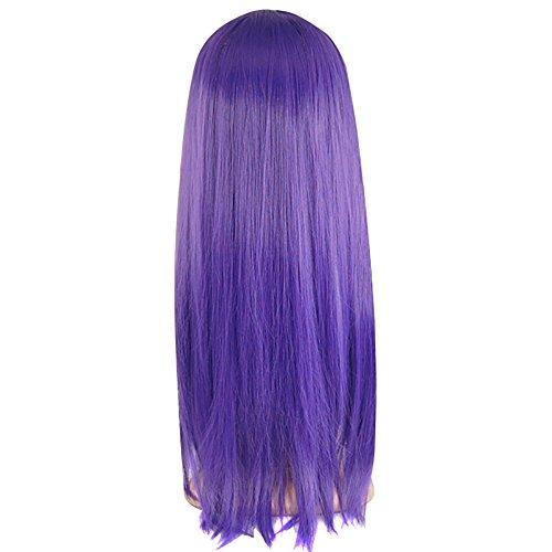 TRIXES droite longue perruque de déguisement: violet foncé