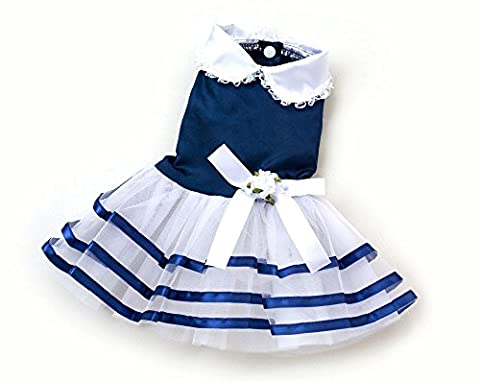 SMALLLEE_LUCKY_STORE Pet Small Dog Princess Dress Satin Shirts Striped Pleated Skirts Cat Puppy Clothes Wedding Party Girls Blue L