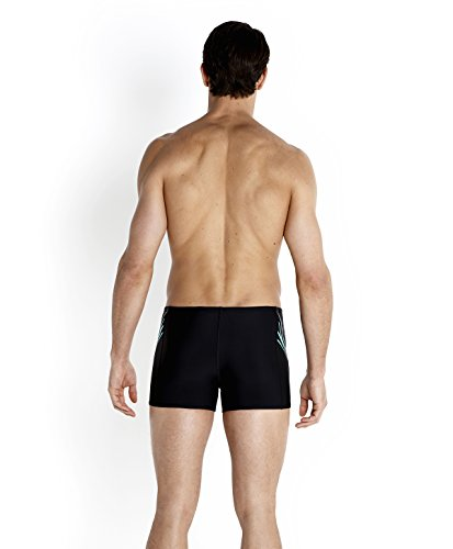 Speedo Herren Badehose Placement Aquashorts Print 7 Black/Chill Blue