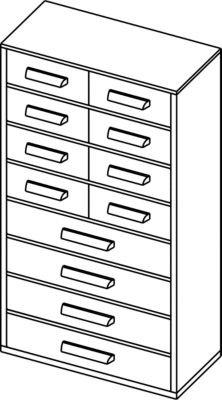Schubladenmagazin – HxB 551 x 306 mm, 12 Schubladen – tiefschwarz – Klarsichtmagazin Kleinteilemagazin Lagersystem Magazin Schubladenmagazin