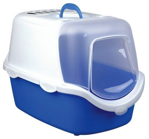 Trixie Vico Katzentoilette mit Einfach zu reinigen Dome, 40x 40x 56cm, blau/weiß