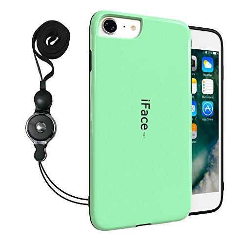 uk availability 12b40 48c98 iPhone 7 Heavy Duty Case with Phone Lanyard, Bidear [iFace mall] Rubber  Material Hard Shell Shockproof Protective Cover Case with Phone Necklace  and ...