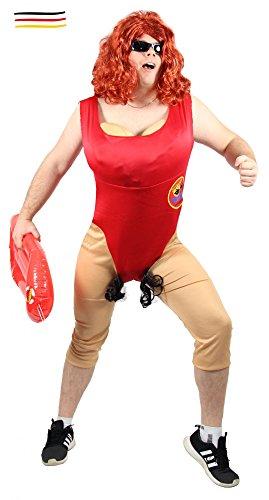 Foxxeo 40314 | Lustiges Herren Kostüm für Männer Rettungsschwimmer | Größe M, L, XL, XXL | Sexy Rettungsschwimmerin mit Busen Babewatch Badeanzug Junggesellenabschied lustig Herrenkostüm, Größe:XL/XXL (Männer Kostüme)