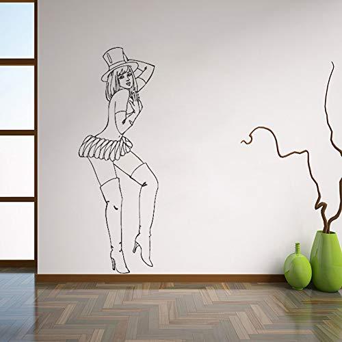 guijiumai Hot Retro Pin Up Girl Wandtattoos Schöne Frau Wandaufkleber Für Schlafzimmer Abnehmbare Kunstwand Home Decoraion Rosa 56x158 cm - Pink-martini-weihnachten
