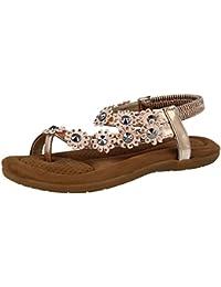 bbdfa1473bcdd Ladies Chix 287481 Faux Leather Metallic PU Peep Toe T Bar Flower Stud  Sling Back Flat Summer Sandals Shoes Size…