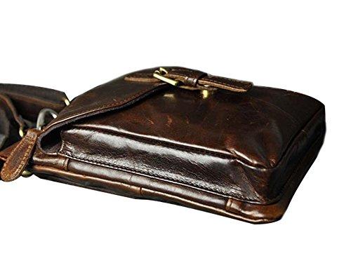 Genda 2Archer Herren Leder kleine Wandern Hüfttasche taktische Reisen Outdoor Gadget Tasche Umhängetaschen Gürteltasche (Braun 6553) Kaffee 6552
