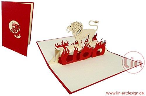 Lin N° 200 Carte de vœux d'anniversaire 3D Thème signe du zodiaque animal lion
