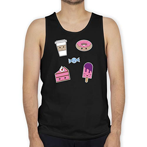Comic Shirts - Kawaii Sweets - XXL - Schwarz - BCTM072 - Tanktop Herren und Tank-Top Männer -