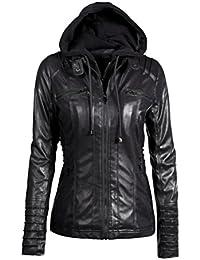 Reaso Femme Jacket Hoodie Hiver Manteaux à Capuche Blouson Zipper Veste  Cuir Cardigan Mode Gilet Casual d2c2ebee8e84