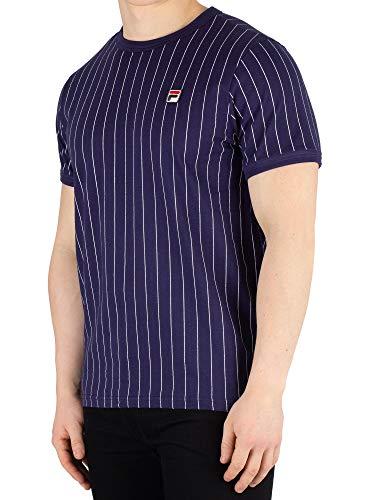 Fila Vintage Herren Guilo gestreiftes T-Shirt, Blau, X-Large (Vintage Fila Shirt)