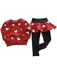 Vestido de niña de invierno blusa ropa, RETUROM nuevo estilo encantador chico chicas amor corazón camisa de manga larga jersey + pantalón falda Deportes juego