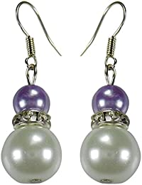 [Sponsored]CRYSTAL & BEADS Amethyst Purple Colour Round Moonball & White Colour Pearl With Diamond Spacer Earring