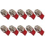 10x T10 194 168 501 W5W CULOT 5 LED 5050SMD Veilleuses Ampoule ROUGE 12V Voiture feux